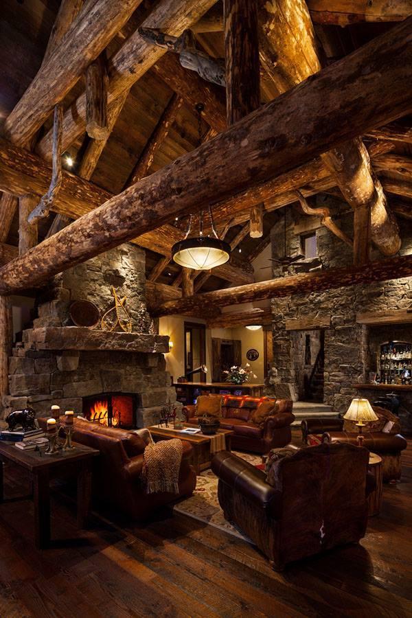Salon w drewnie klimat
