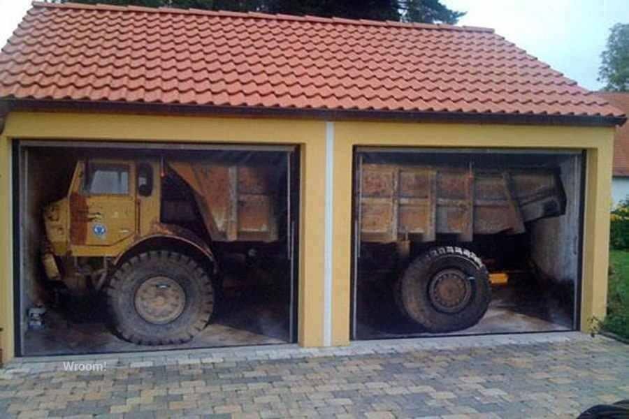 garaż brama z nadrukiem