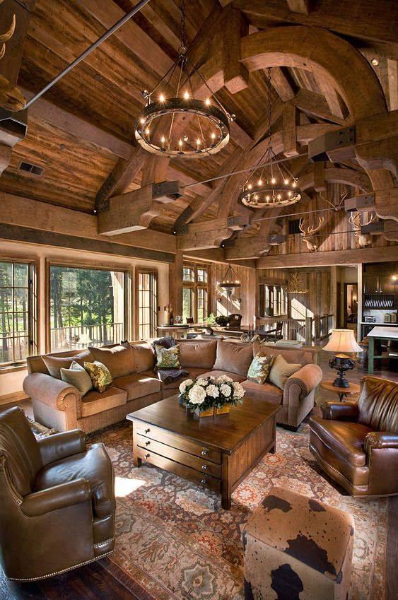 Salon w drewnie elegancko i nowoczesnie