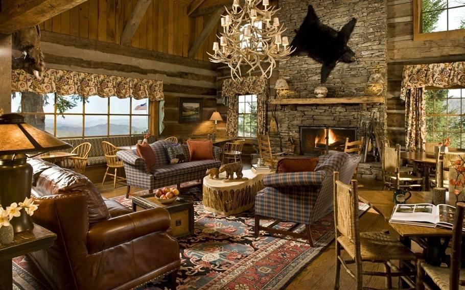 Salon w drewnie mysliwy