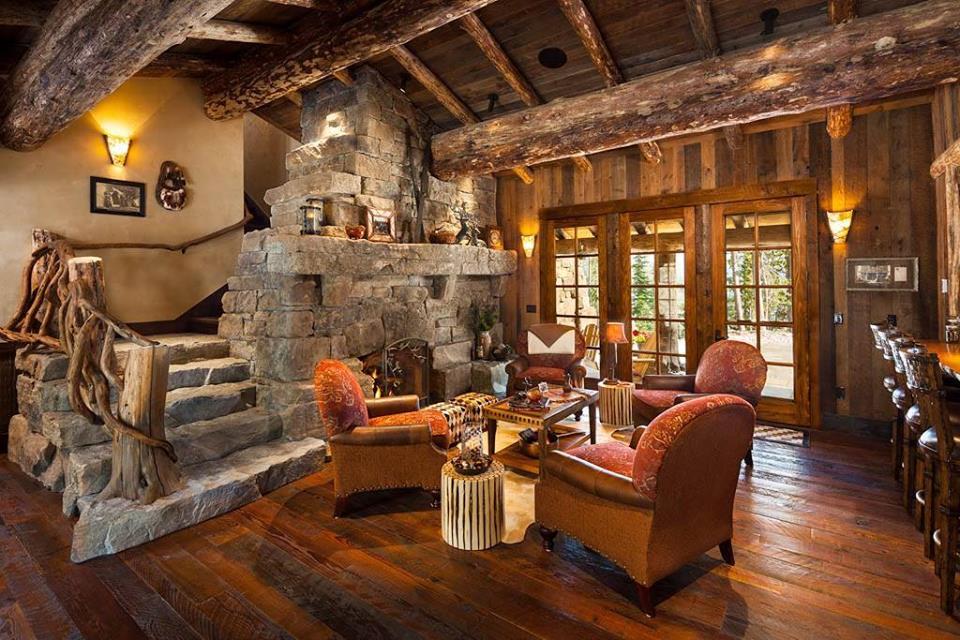 Salon w drewnie