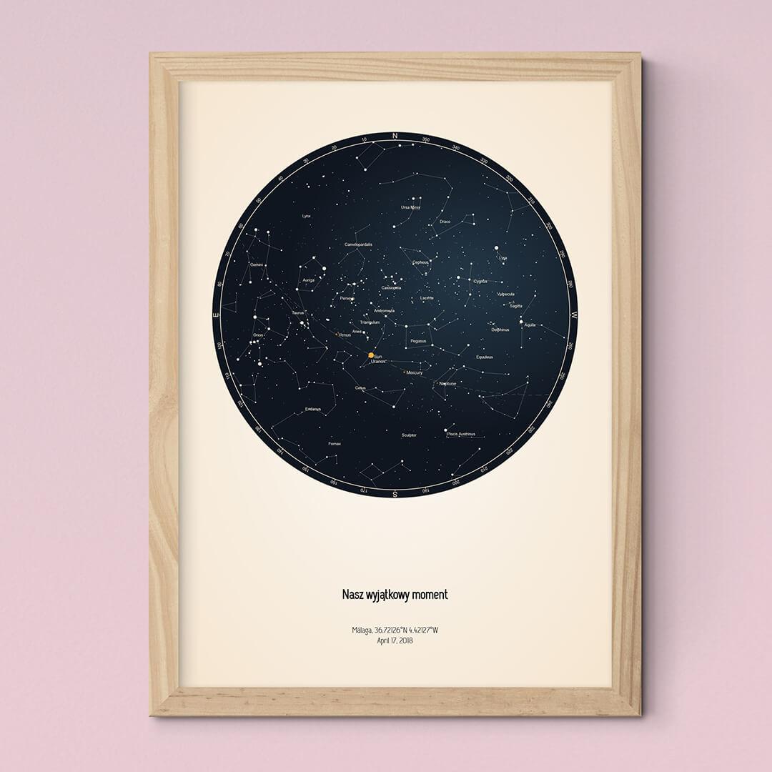 Niepowtarzalny Plakat Z Mapą Nieba Czarny Kolor We