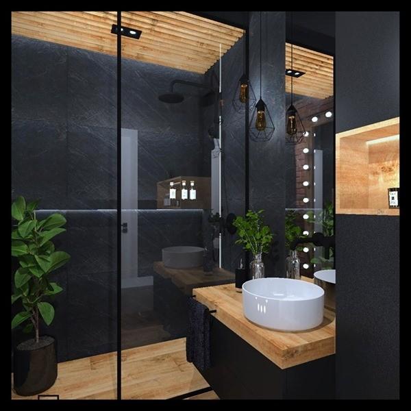 Szlachetna Elegancja W łazience Połączenie Czerni Grafitu